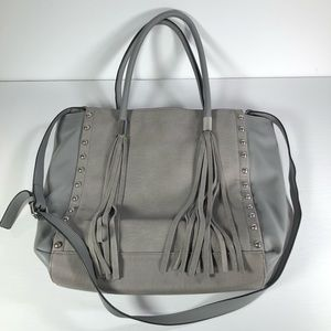 French Connection Pleather Grey Purse Stud Tassels